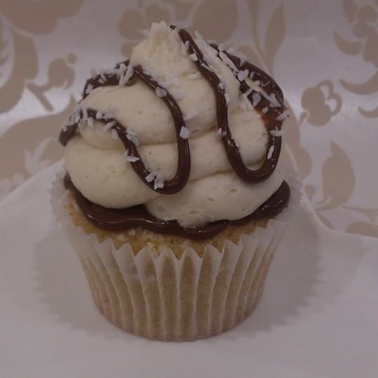 vegan coconut hazelnut chocolate bomb cupcake
