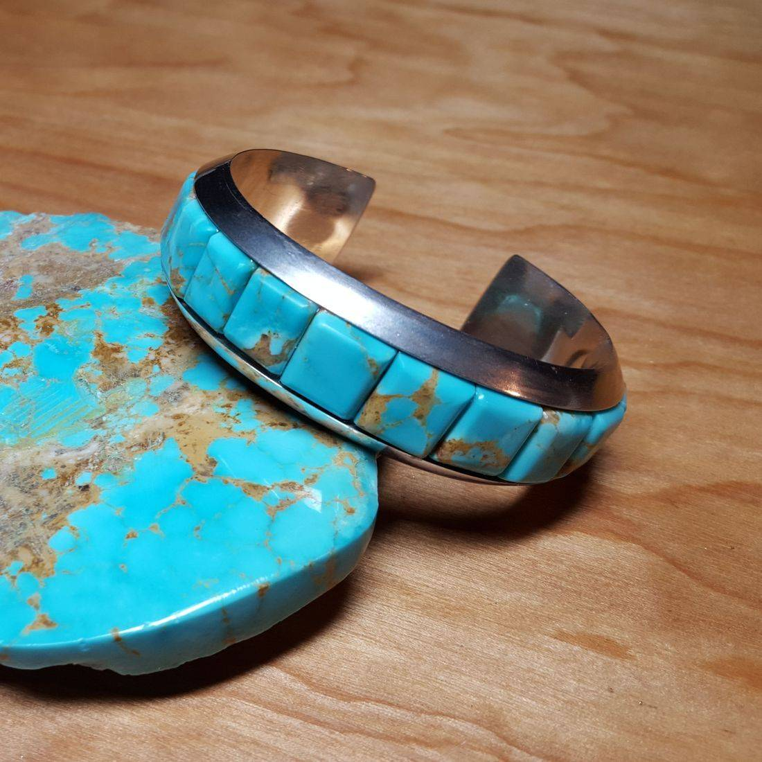 Turquoise Inlay SS Cuff Bracelet $1,460.00 (SOLD)