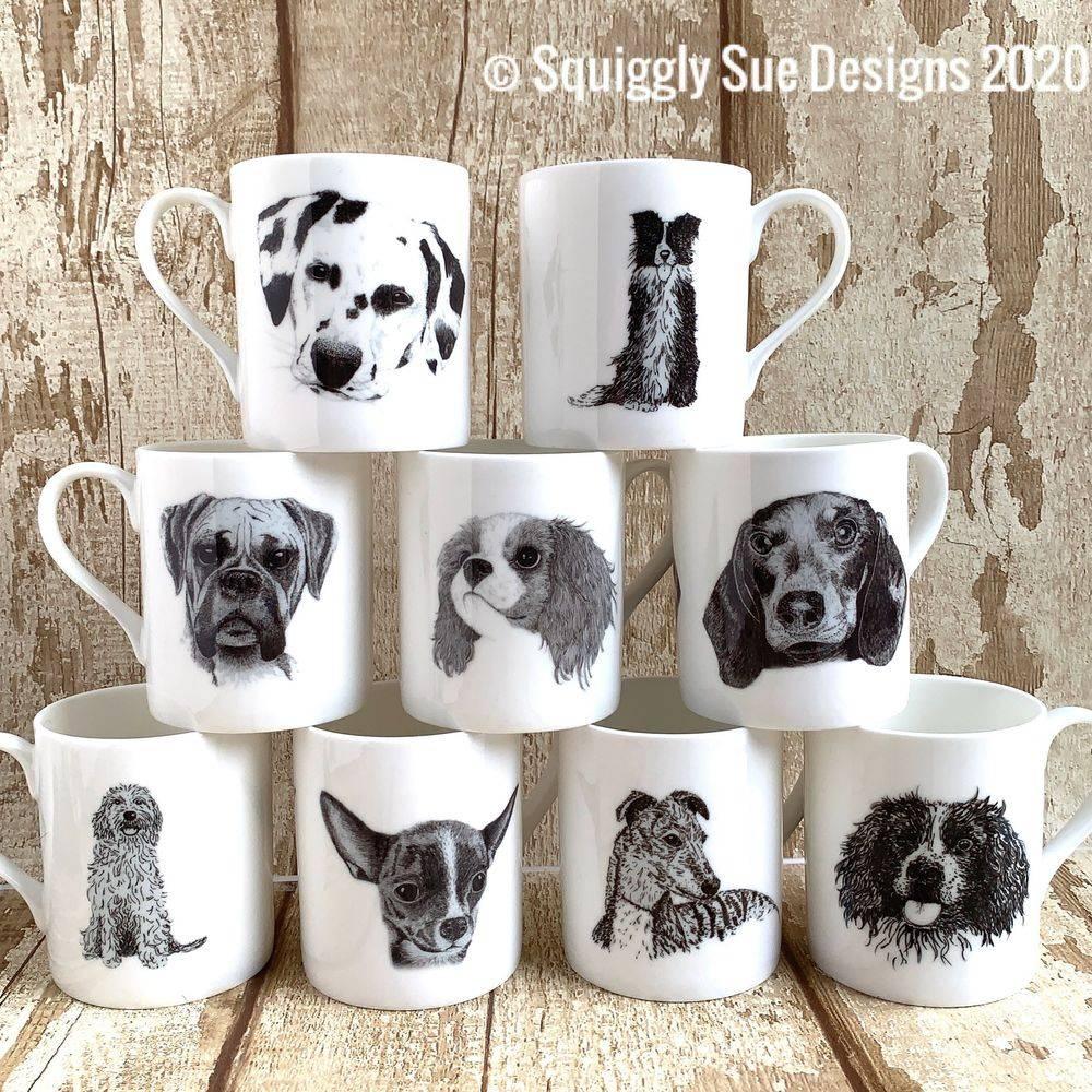 Sausage dachshund dog bone china mug cup pen & ink sketch