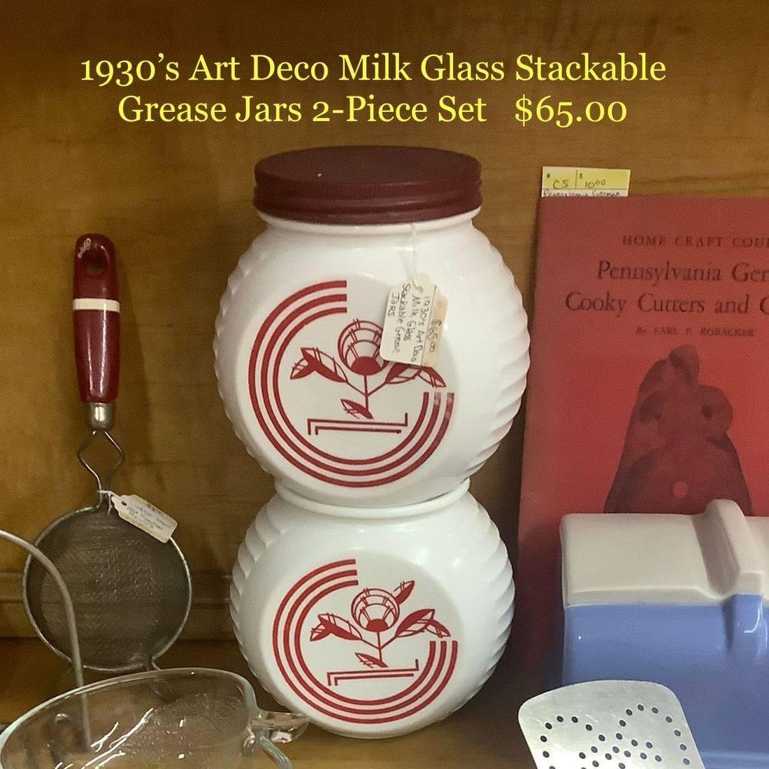 1930's Art Deco Milk Glass Stackable Grease Jar 2 pc. Set   $65.00