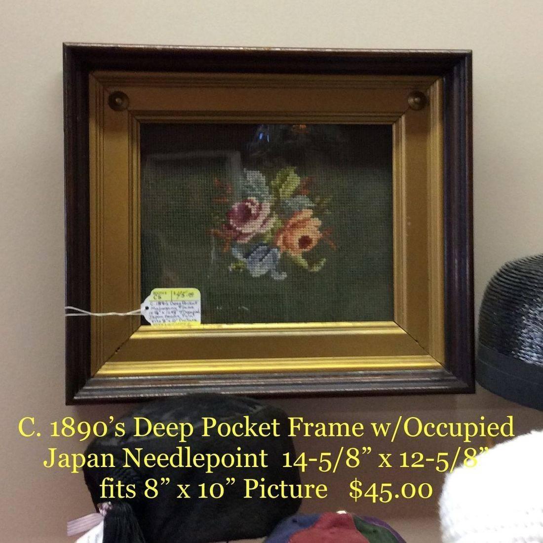 "C. 1890's Deep Pocket Frame w/Occupied Japan Needlepoint  14-5/8"" x 12-5/8""  fits 8"" x10"" pic.  $45.00"