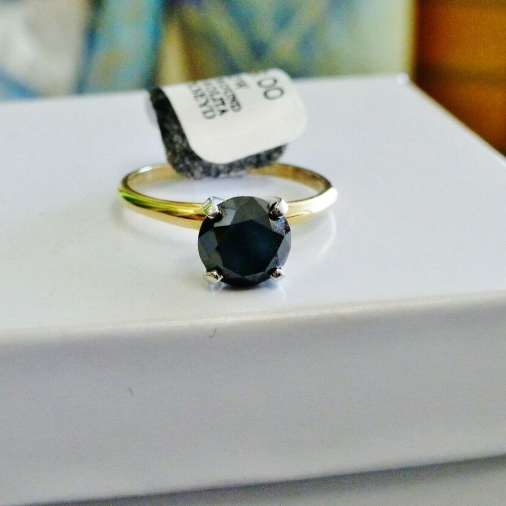1.5CT Round Cut Black Diamond Solitaire Prong Set in Yellow Gold Ring