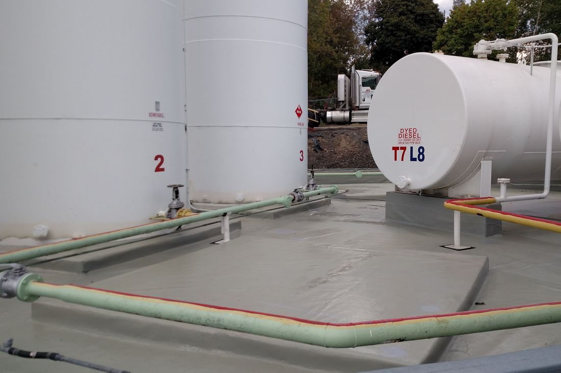 HDPE Liner for Storage tank containment systems: Typical secondary storage tank containment liner installation.