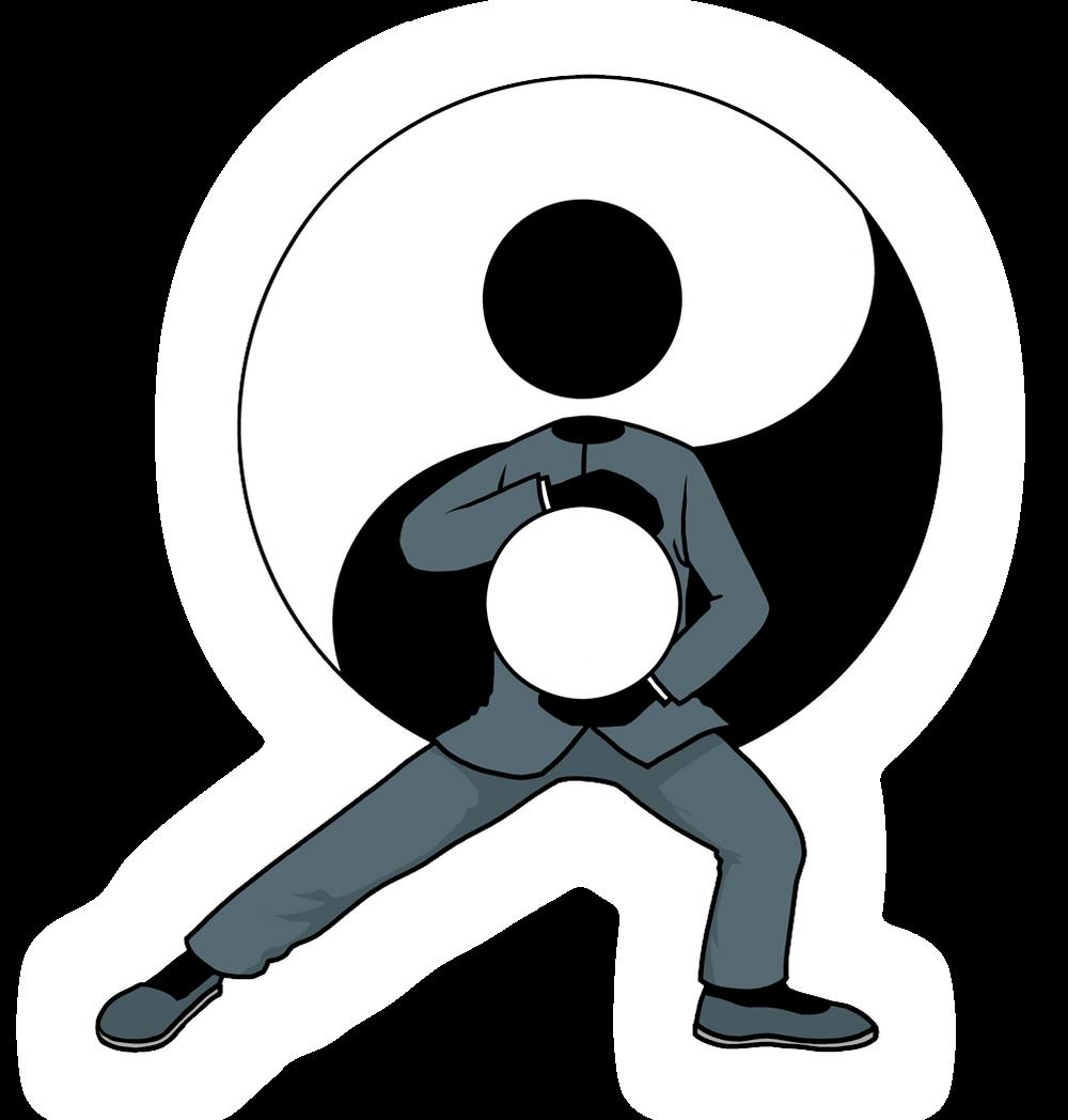 Silhouette-man tai chi action icon