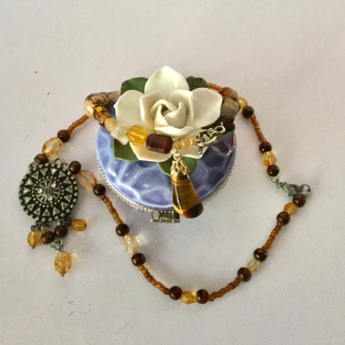 Coffee and Cream Beaded Necklace with Antique Pendent Necklace