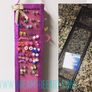 DIY, Dollar Store, Glitter, pink, Earring holder,  upcycle, recycle