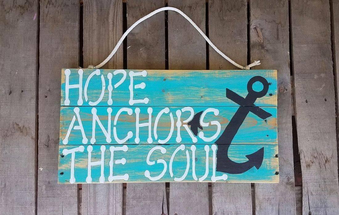USA Handmade Reclaimed Pallet Wood Beach Sign Decor Anchor Hope