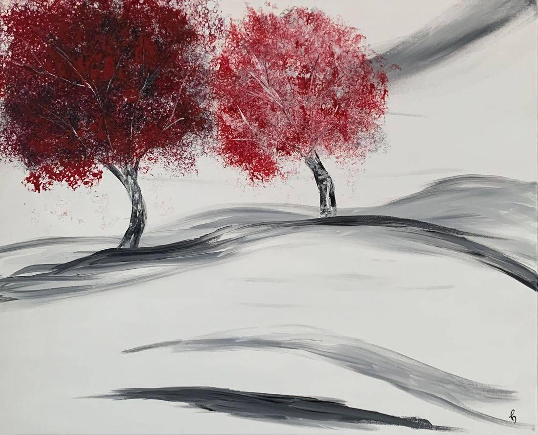 Fallen Snow, snow, trees, red leaves, Oregon Artist, Abstract Artist, Local Artist, Hope Angel Fine Art