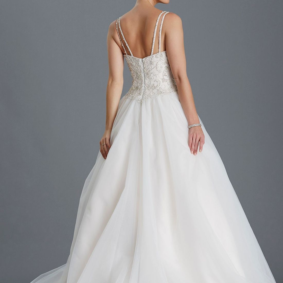 Back of ballgown, princess wedding dress