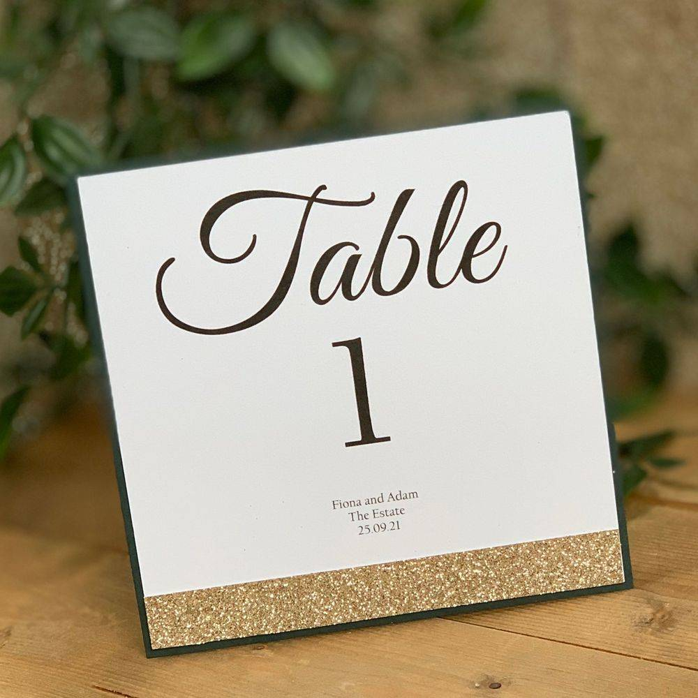 Glitter Belle - Champagne Glitter and Racing Green Table Number - Double Sided