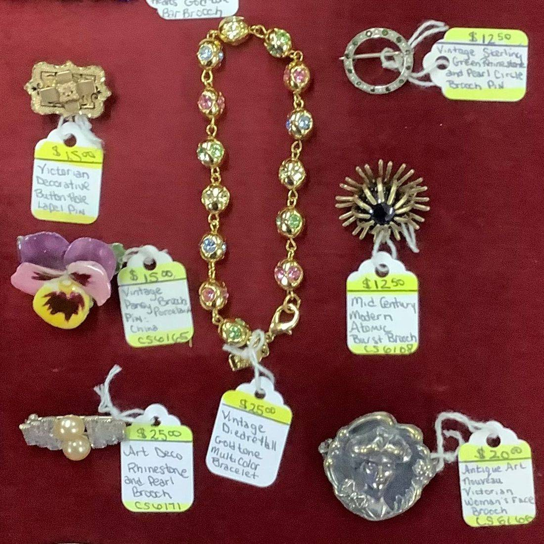 Antique and Vintage Brooches and Bracelet  $12.50 to $25.00