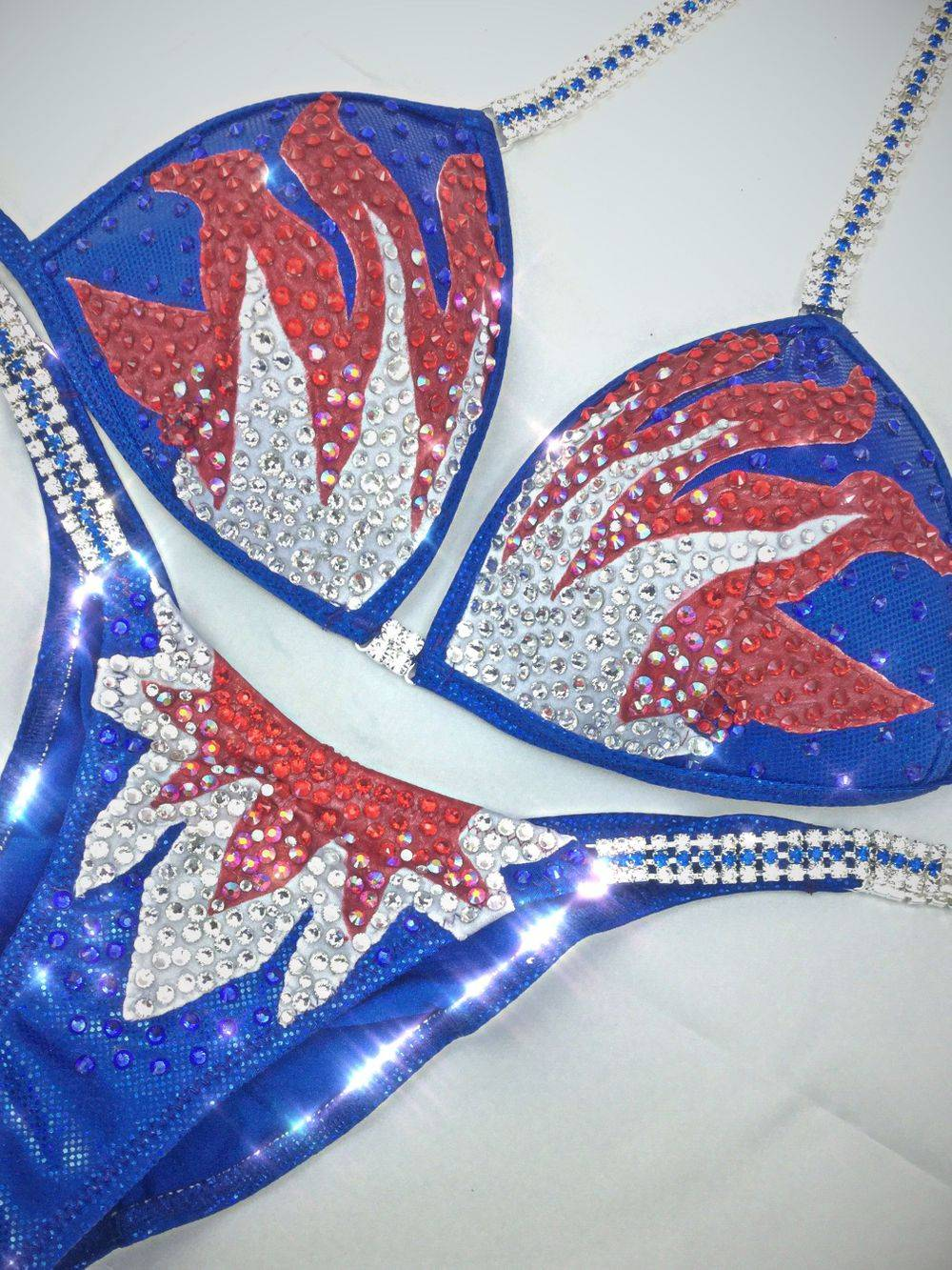 red, white and blue competition bikini