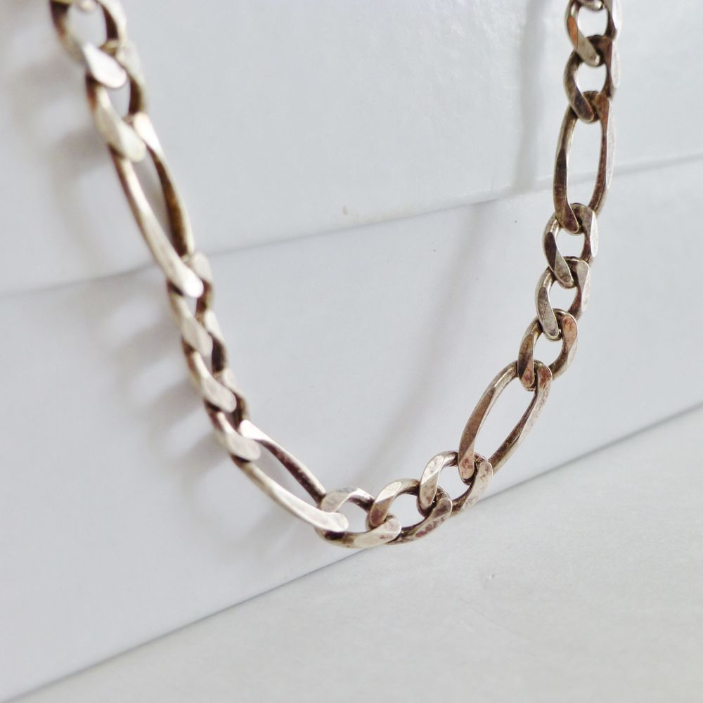 Sterling Silver Figaro Link Necklace on a White Box