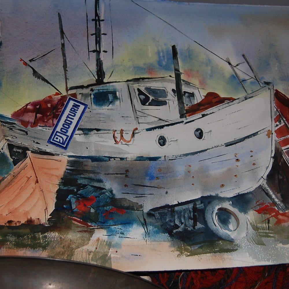 vintage watercolor of wood boat