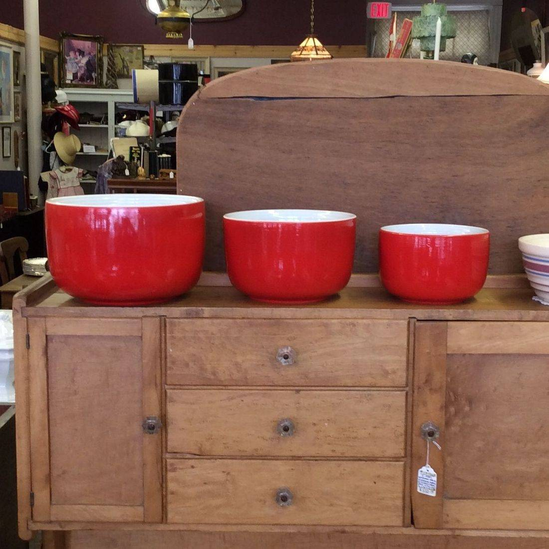 "3-Pc. Hall Superior Red, Straight-Sided Mixing Bowl Set - 8-3/4"" - 7-1/2"" - 6""   $95.00"