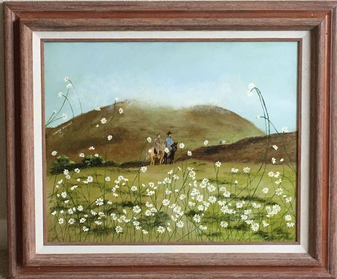 Daisies, Couple, Romantic, Horse ride, Spring, Hill Country, Aqua, Green, Brown, Grass