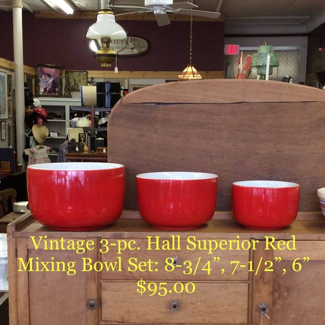 """Vintage 3-Pc. Hall Superior Red Straight-Sided Mixing Bowl Set  8-3/4"""", 7-1/2"""", 6""""   $95.00"""