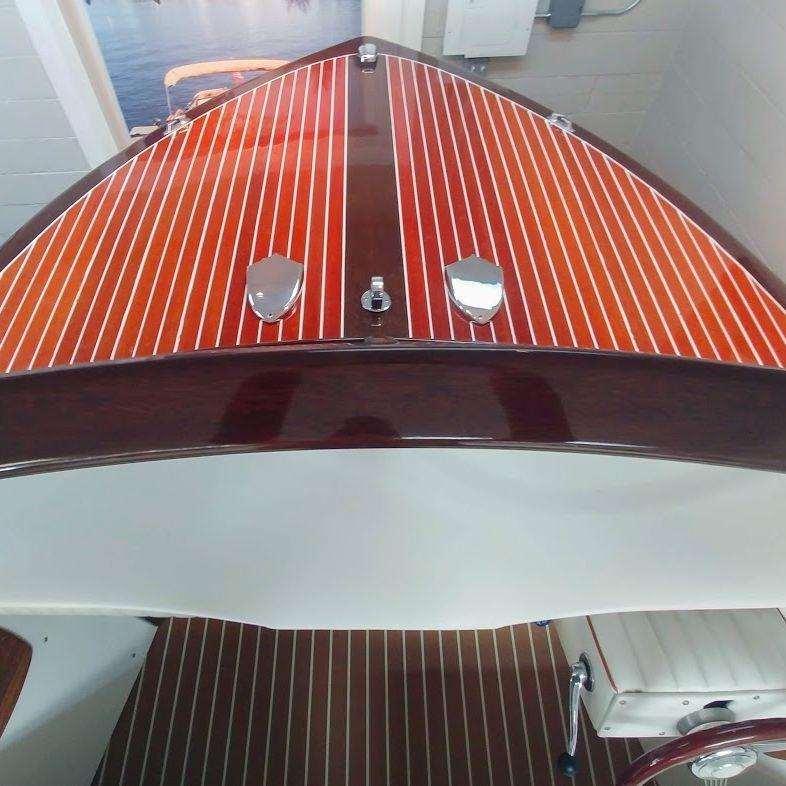 streblow in wood boat showroom lake geneva