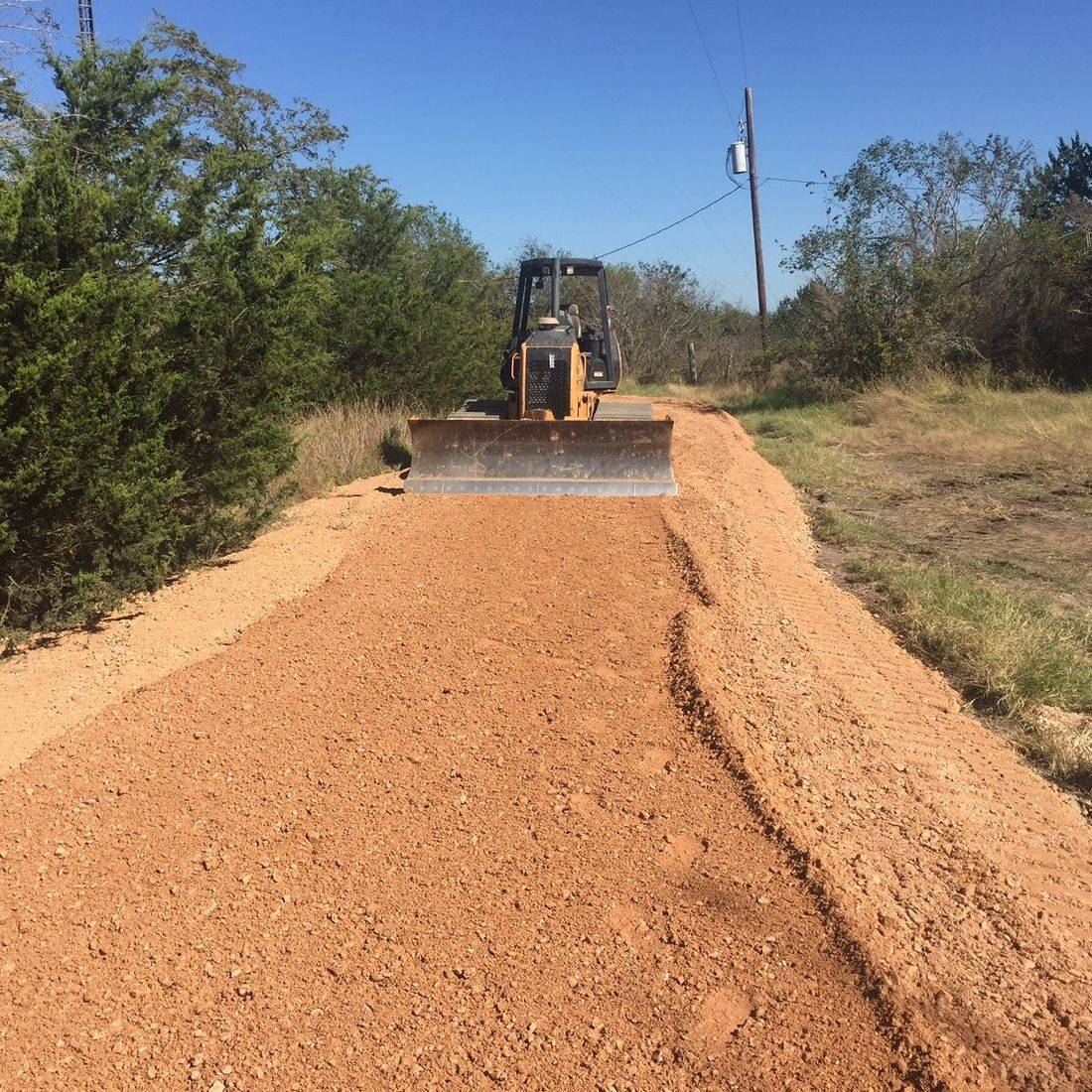 cell phone tower roads, access road, easement road installation, dozer work, crushed concrete, limestone base