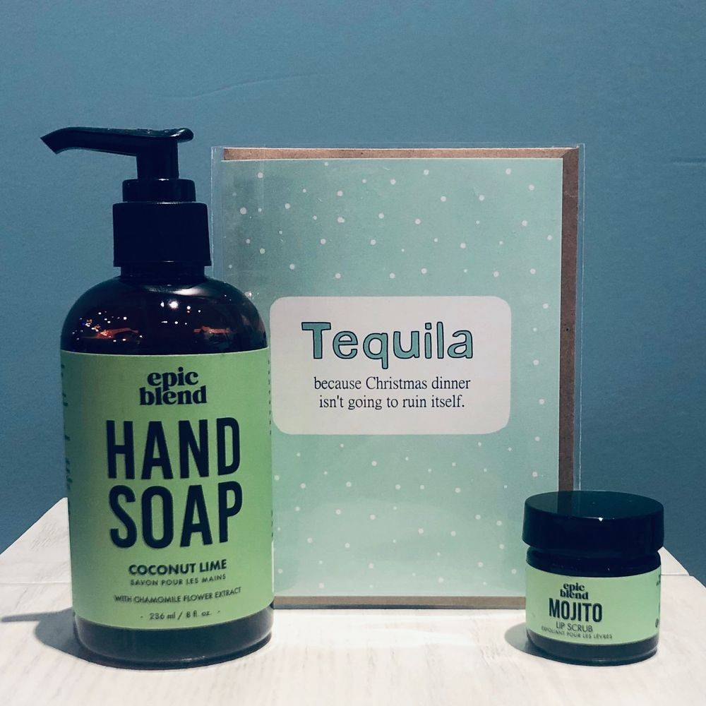 locally made spa gifts sets, shop local ottawa gifts, exhalo spa gifts, epic blend