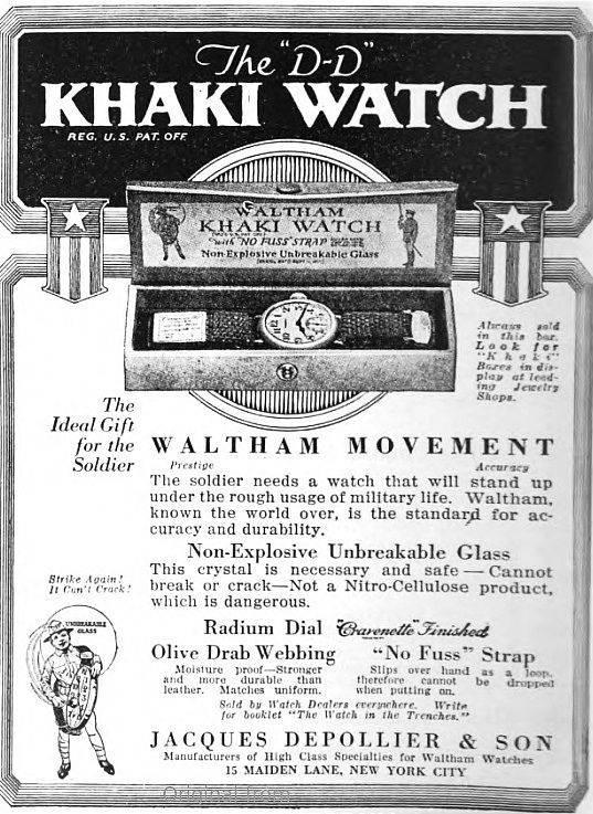 1918 WWI Waltham Depollier KHAKI Trench Watch