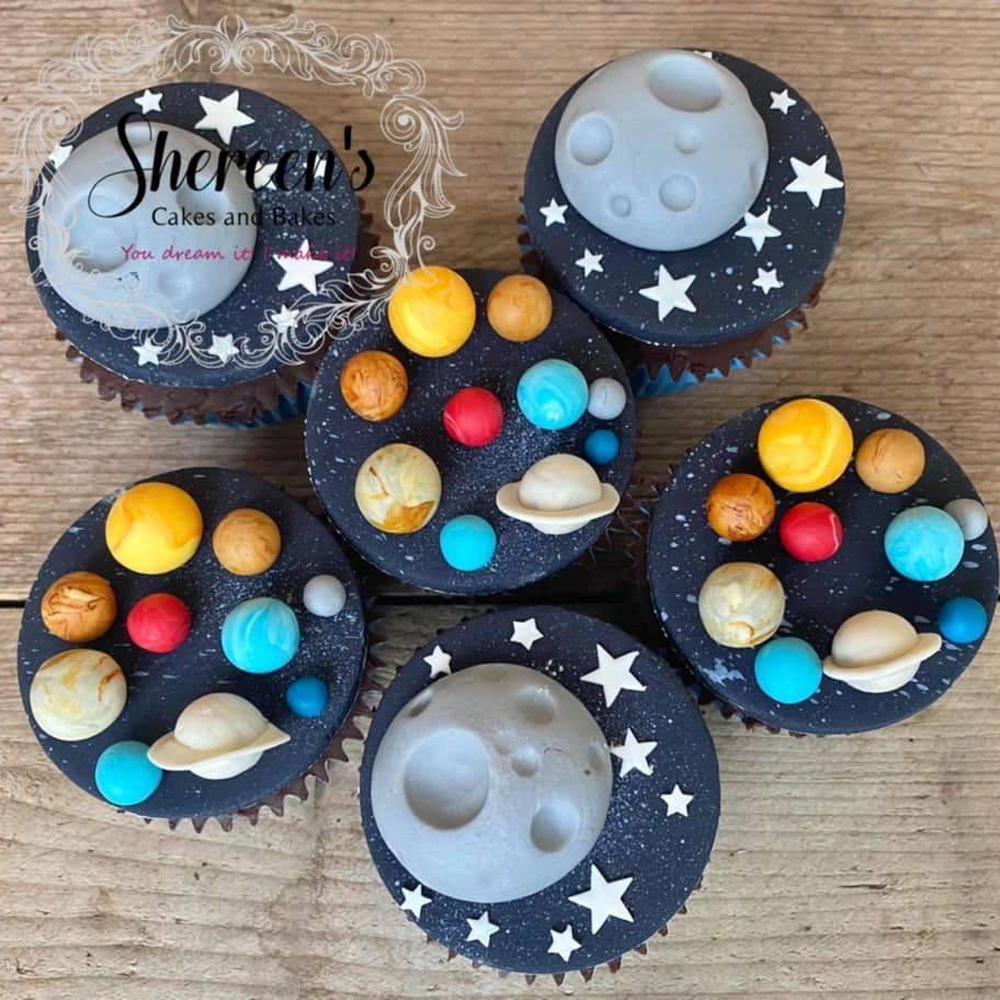 Galaxy Space Cupcakes Planets Moon Earth