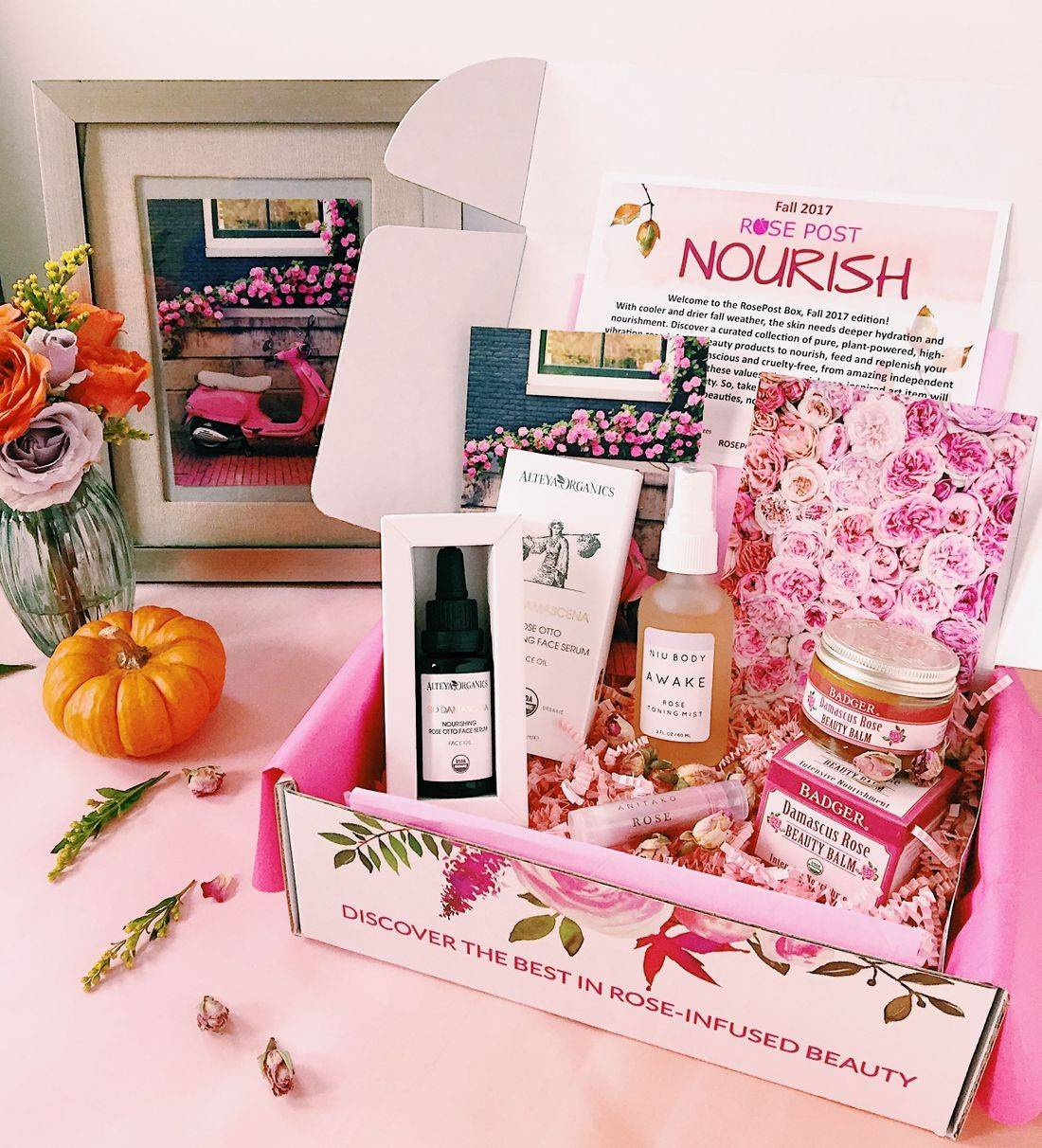 RosePost Box, RosePost Box Fall 2017, RosePost Subscription Box, Bulgarian Rose Oil, Clean Beauty Box, Eco subscription box