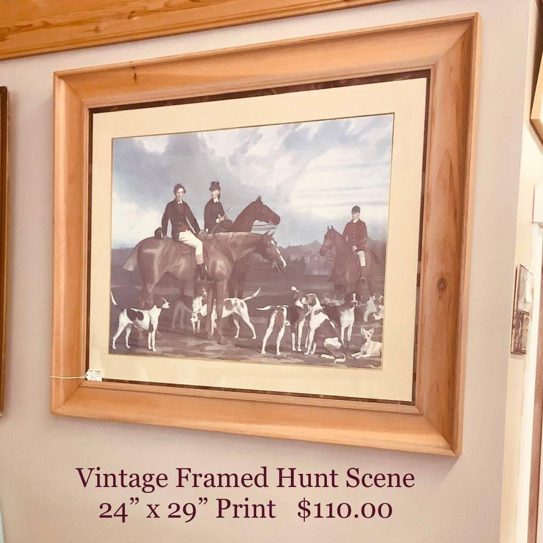 """Framed Hunt Scene Print 24"""" X 29""""   $110.00"""