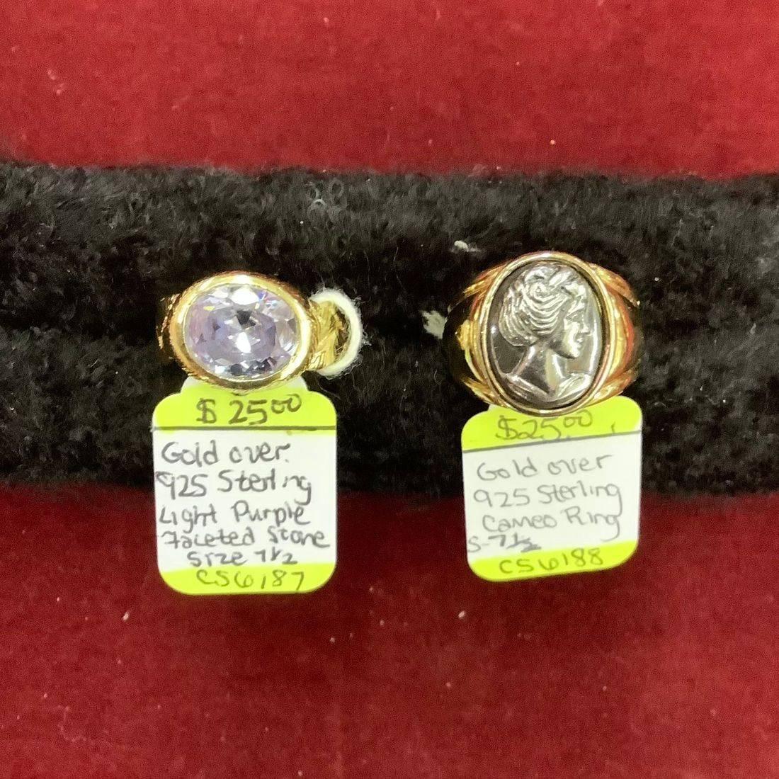 Gold over Sterling Light Purple Faceted Gem Stone size 7-1/2 Ring $25 , Gold over Sterling Cameo size 7-1/2 Ring $25