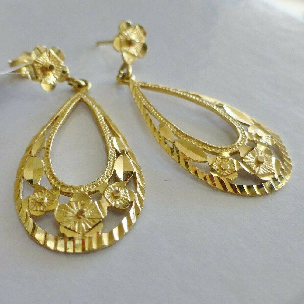 Yellow Gold Teardrop Dangle Earrings with Floral Design