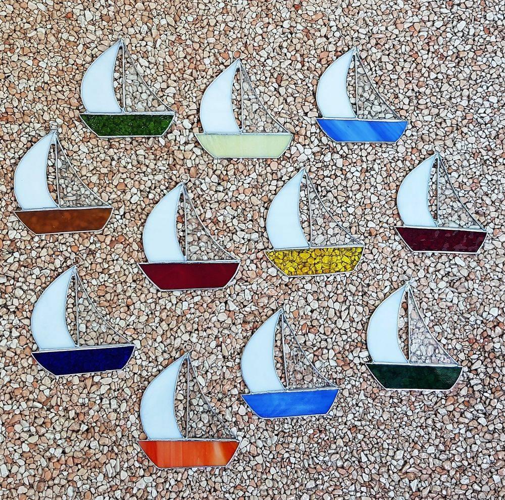 Segelboot, Glas, Kunsthandwerk, Fensterbild, Tiffany, Einzigartig, Unikat, Meer, Sommer, Ferien, Urlaub, Glück