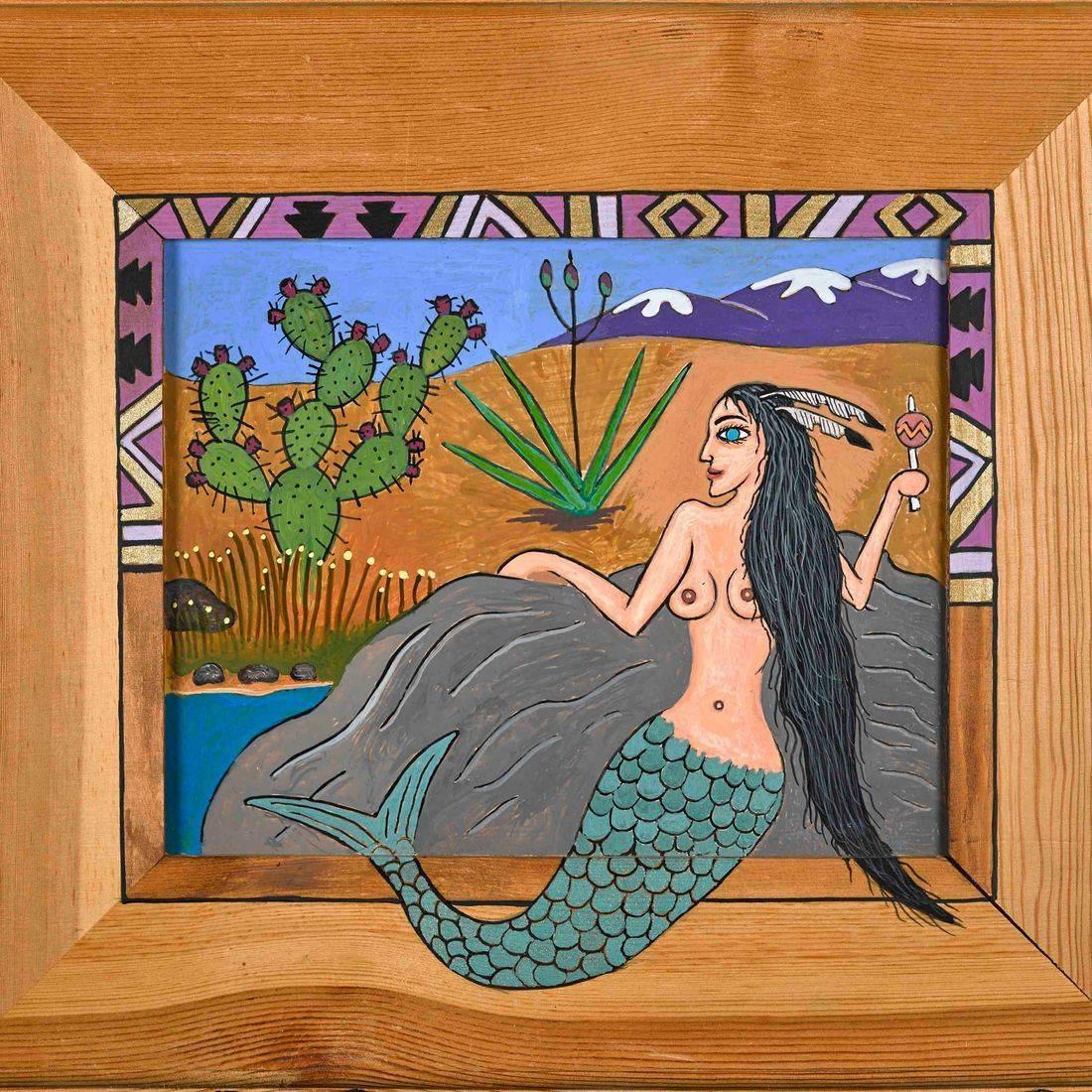 Mermaid, Arroyo, Saguaro, Cactus, Desert, Sexy Woman, Femme Fatale, Feather Headdress