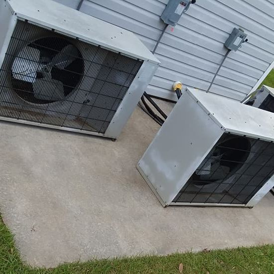 Completed pressure washed air conditioner area