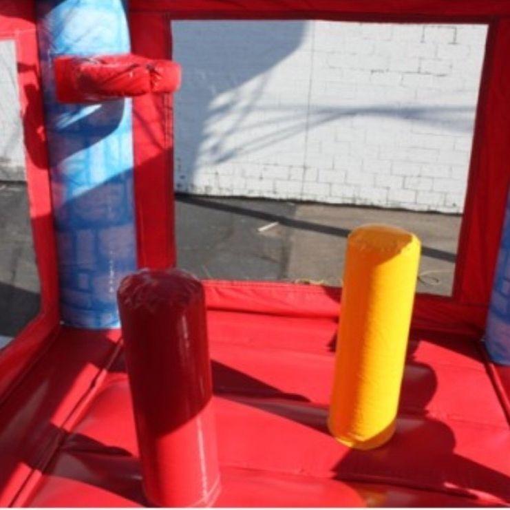blue castle bounce house dry slide combo