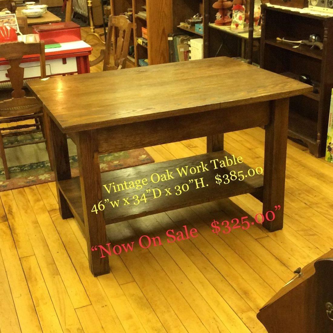 """Vintage Oak Work Table w/Shelf 46""""W x 33-3/4""""D x 30""""H. ( very solid, very heavy )   $385.00"""
