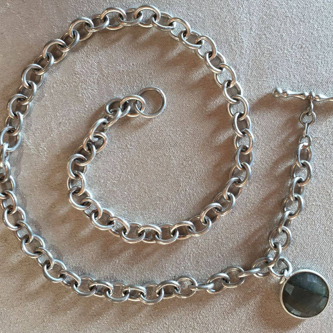 HeavyItalian sterling chain with Silver Labradorite drop worn as a necklace or bracelet... great layering piece