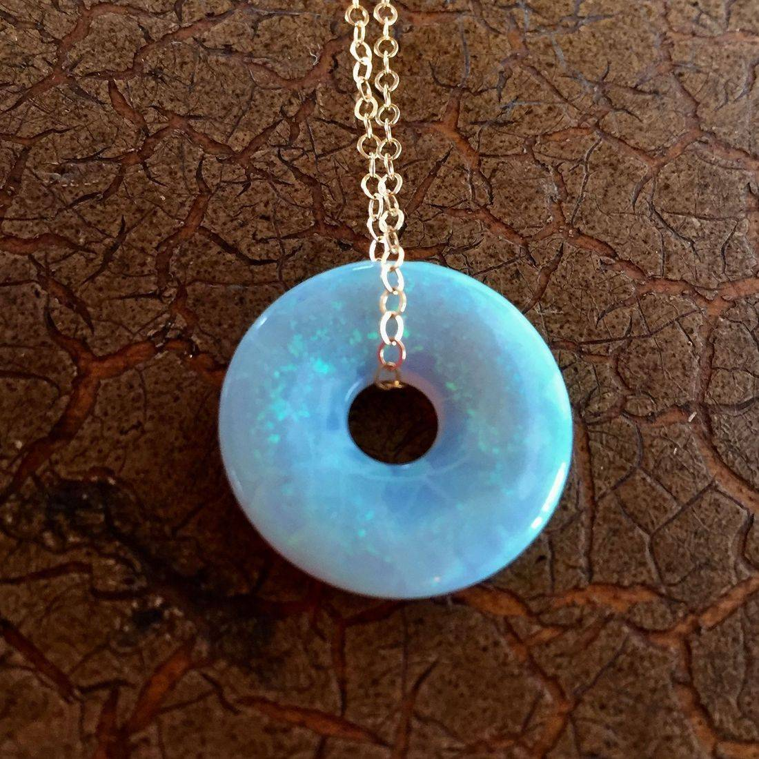"""Cultured Opal Lifesavers 18mm on 17"""" 14k gold filled chain $95.00 USD or 126.00 CAD"""