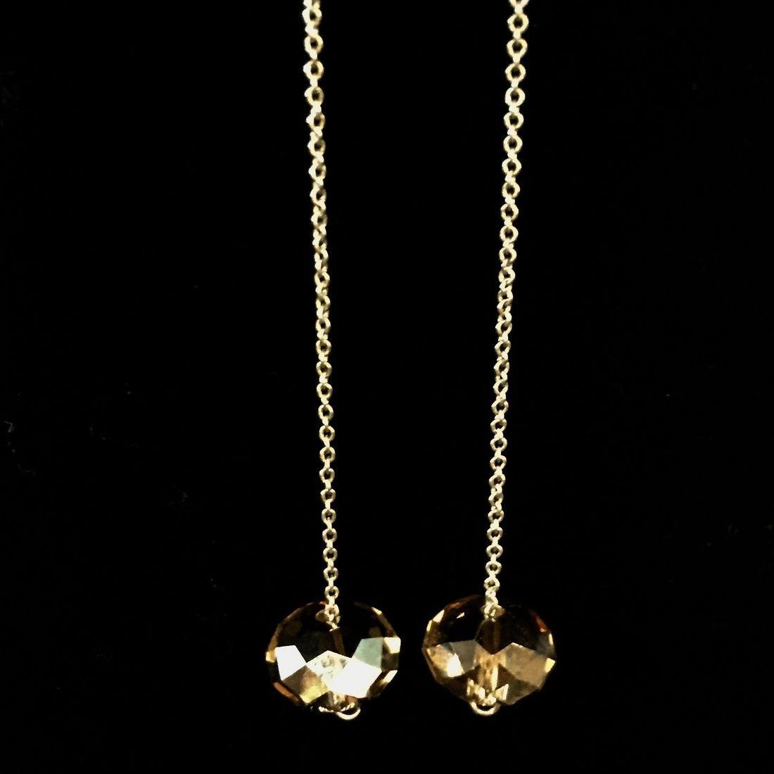 12mm Golden Swarovski drop earrings with Swarovski crystal and sterling shepherd hooks