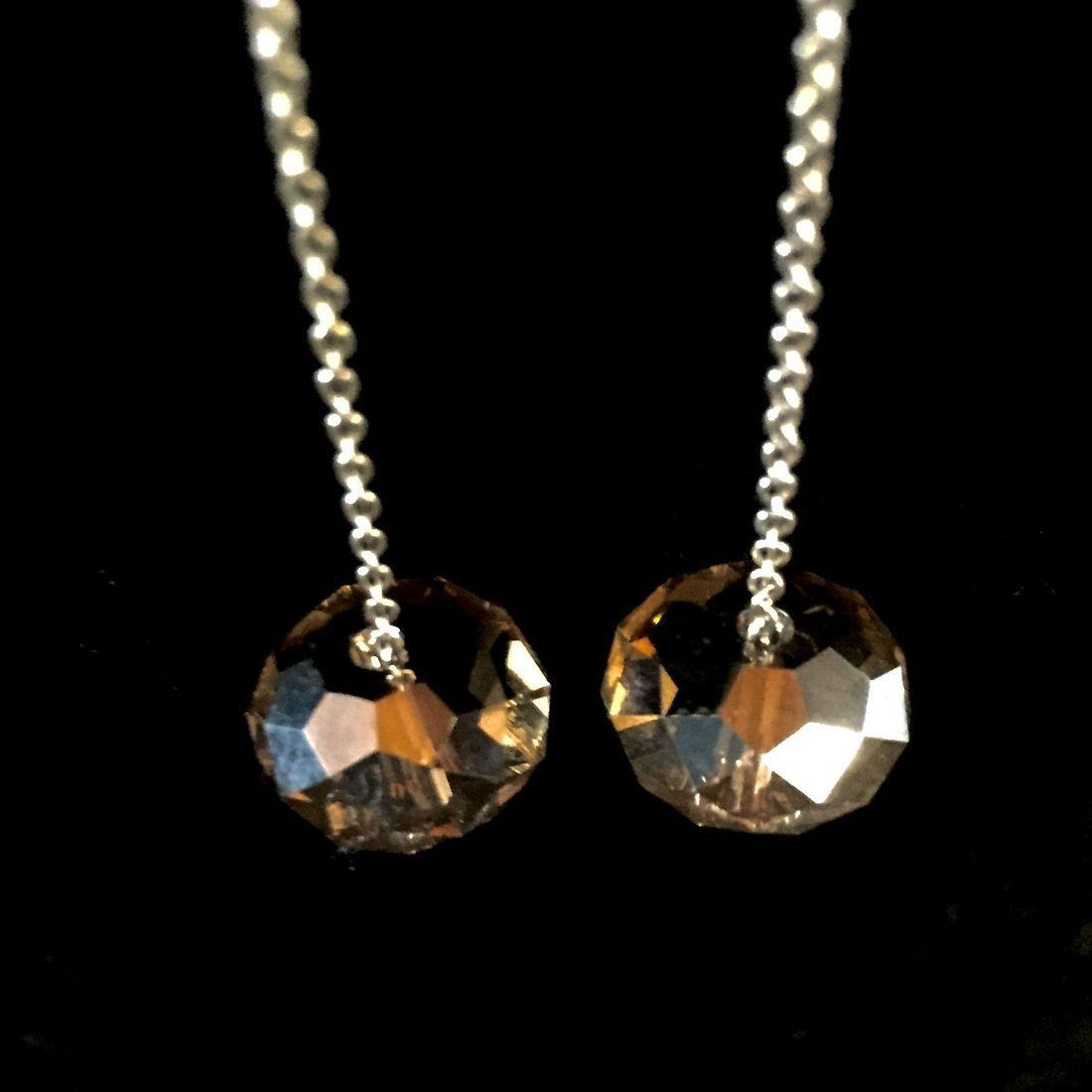 Amber Swarovski crystal on sterling infinity chains