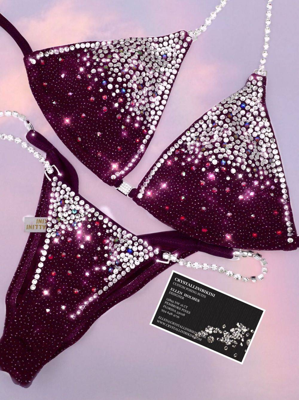 burgundy competition bikini