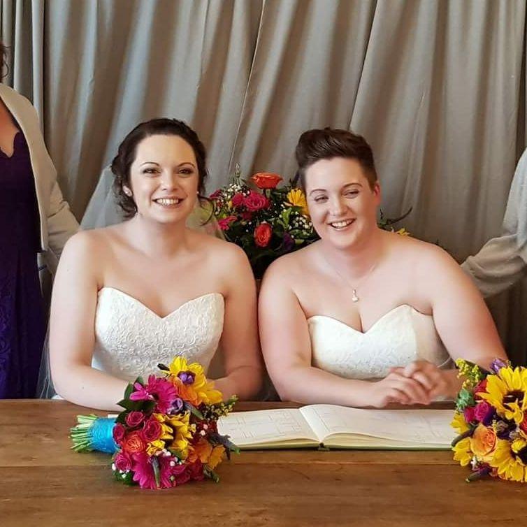 2 wedding dresses for both Bridescasual wedding, abroad