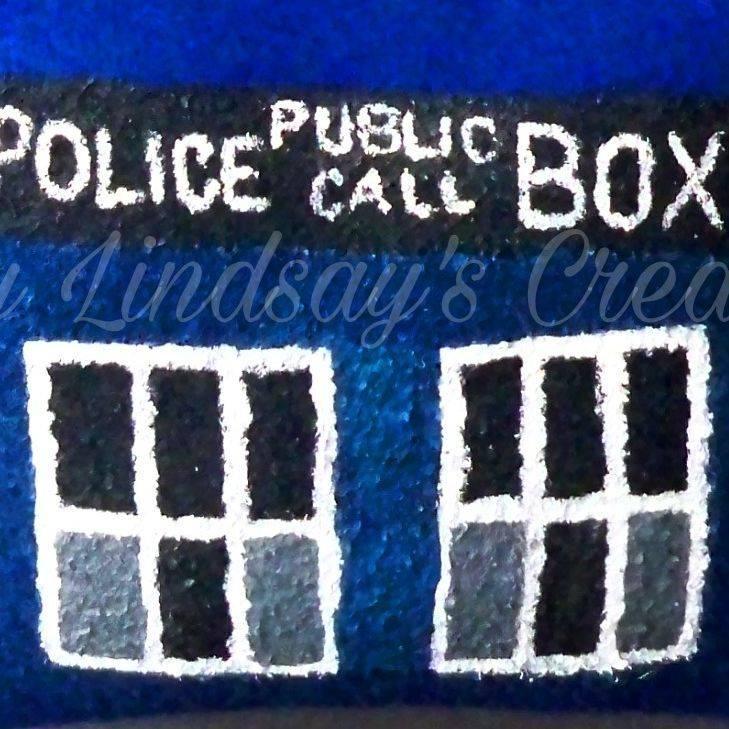 Doctor Who, Tardis, Whovian, Matt Smith, David Tennant, Peter Capaldi, TARDIS, pillow, painted, hand painted, art, handmade, handcrafted, shop small, small business, Etsy, nerd, geek, otaku, anime, kawaii