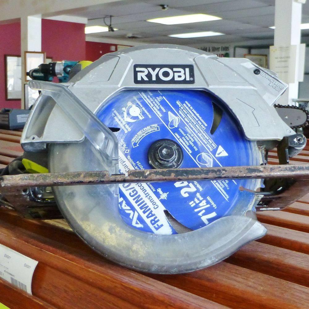 Ryobi corded circular saw sitting on a top shelf