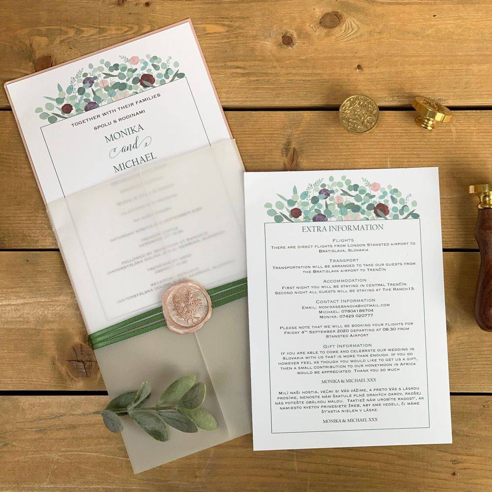 Wax Sealed Wedding Invite, pink,  greens, wine