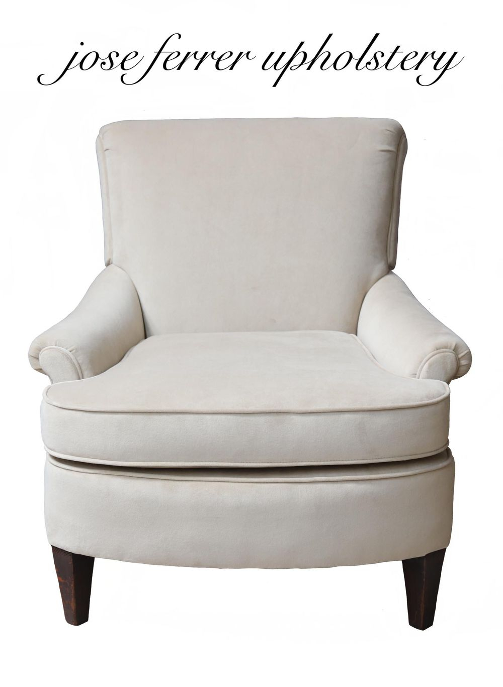 medium size chair in white velvet