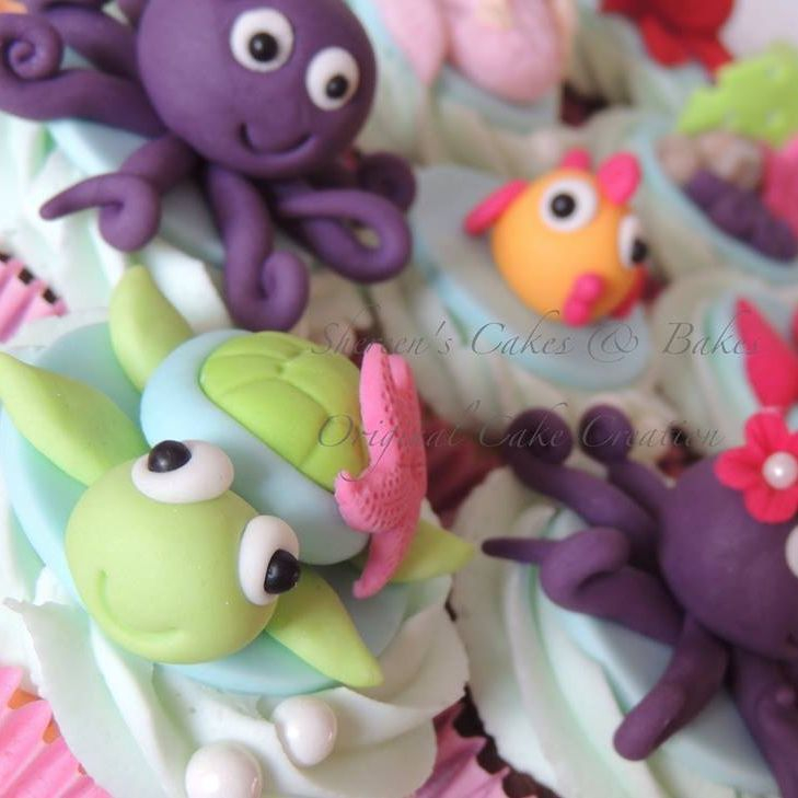 Under Sea Cupcakes Octopus Birthday Fish turtle Mermaid