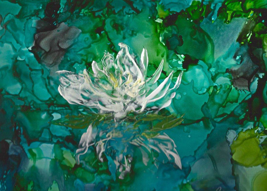 encaustic, alcohol ink, encaustic mixed media, botanical encaustic, floral encaustic, lotus flower painting