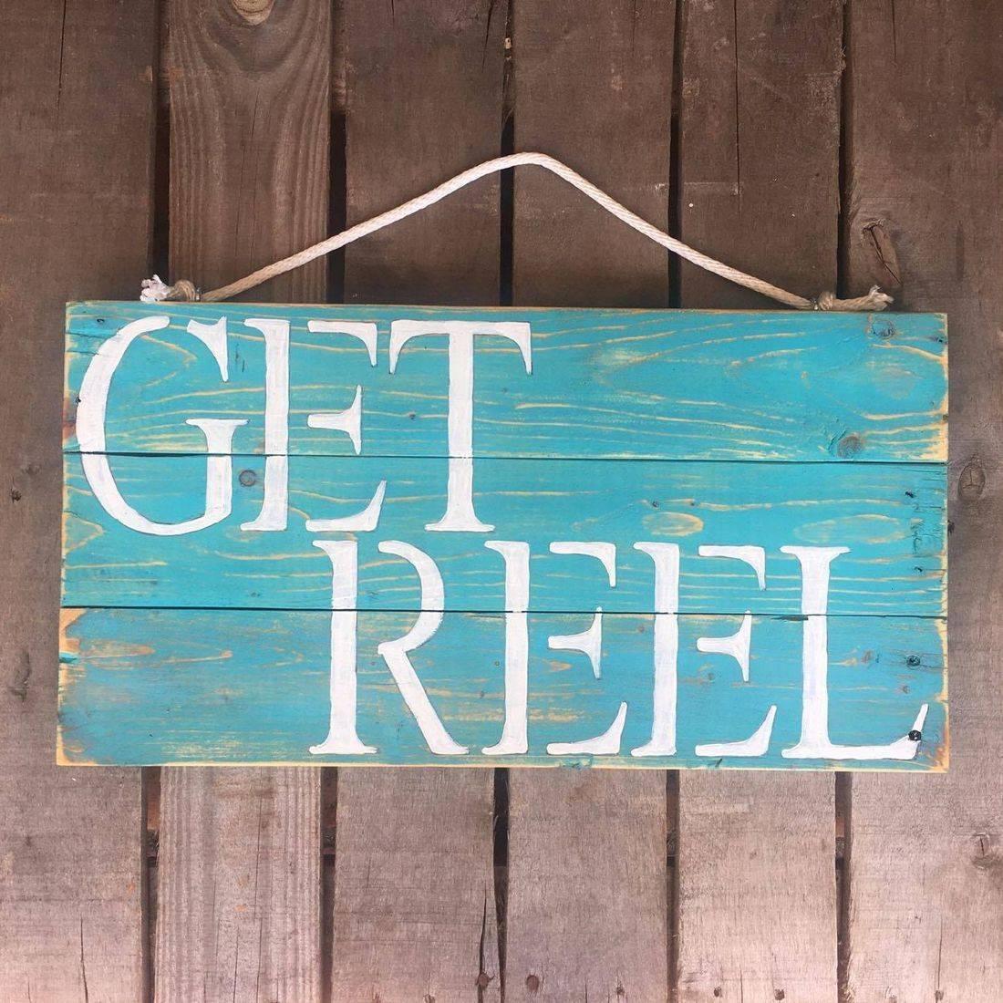 USA Handmade Reclaimed Pallet Wood Get Reel Fishing Beach Sign