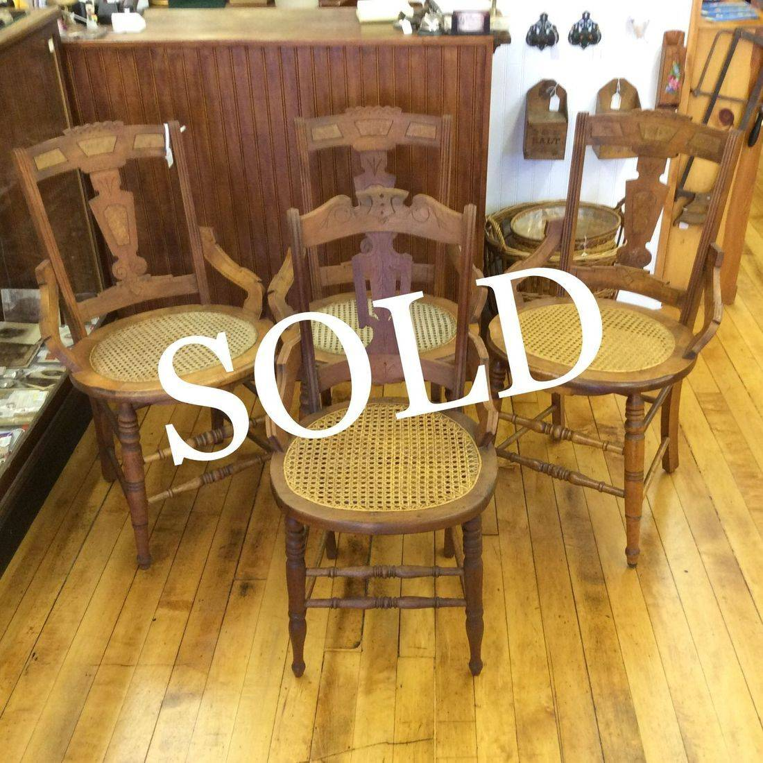 1890-1910 Eastlake Walnut Chairs w/Burled Backs and Cane Seats   $30.00 each