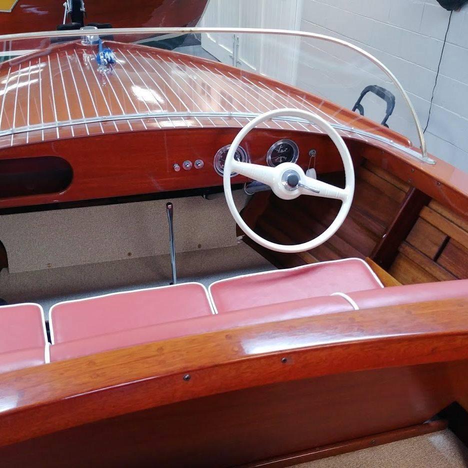 Chris Craft Sportsman wood boat restoration by Bergersen Boat